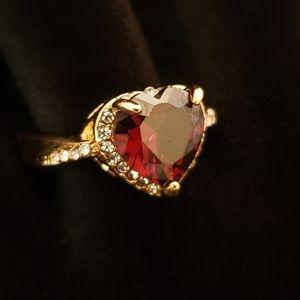 Blood Red Heart Shaped Fake Diamond Ring